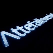 Šviesdėžė su inkrustuotomis 20mm storio PLEXIGLAS® raidėmis