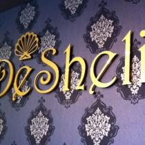 DeSheli logotipas ant sienos pagamintas iš 3mm PLEXIGLASS® stiklo