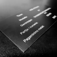 Lazeriu graviruota lentelė - DuraBlack aliuminis